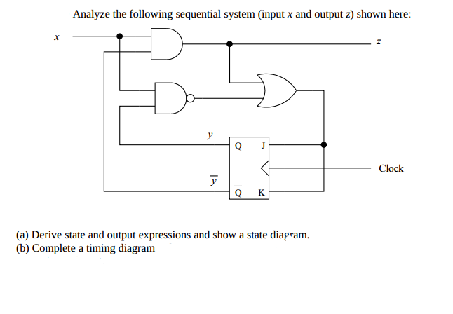 Analyze the following sequential system (input x a