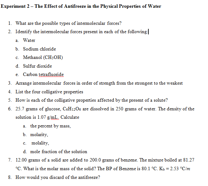 List Of Physical And Chemical Properties Of Water
