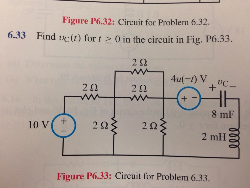 Figure P6.32: Circuit for Problem 6.32. Find upsi