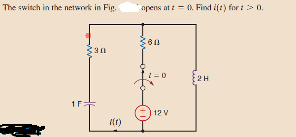 The switch in the network in Fig. opens at t = 0.