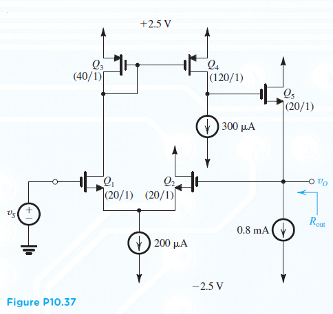 Figure P10.37 shows a series? shunt amplifier with