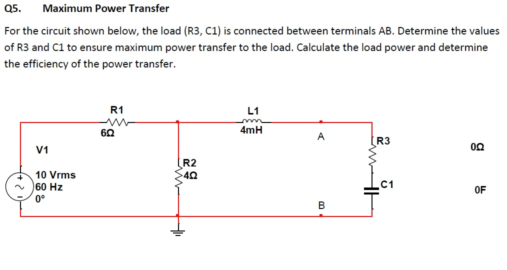 For the circuit shown below, the load (R3, C1) is