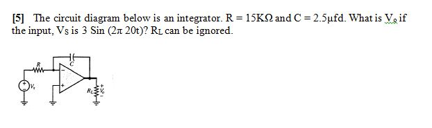 The circuit diagram below is an integrator. R = 15