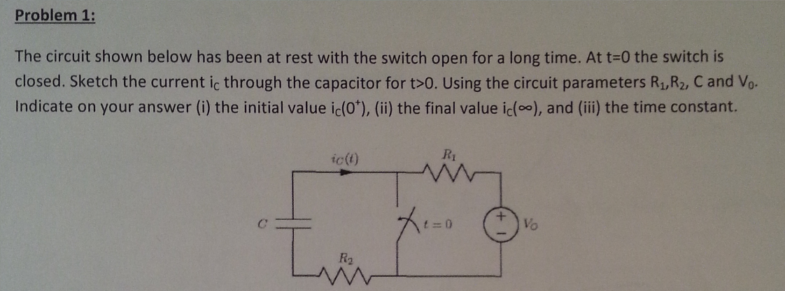 The circuit shown below has been at rest with the