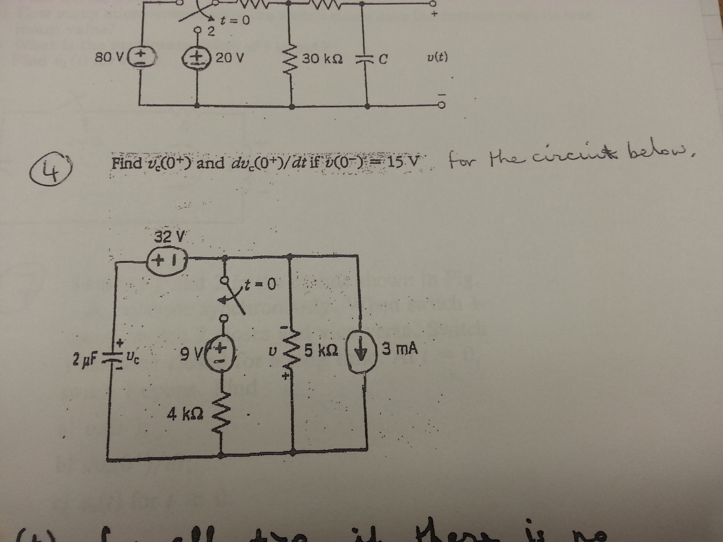 Find vc(o+) and dvc(o+)/dt if v(0-)=15v. For the