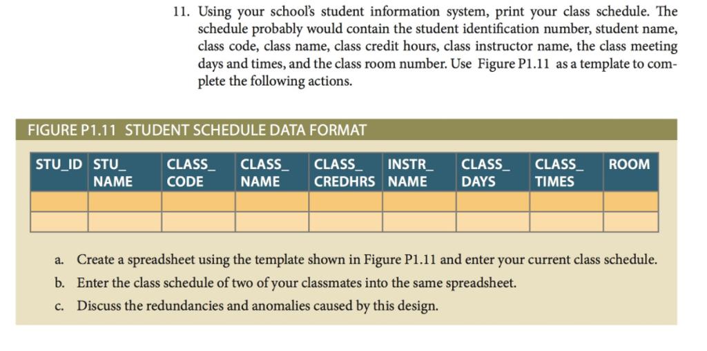 student class schedule template