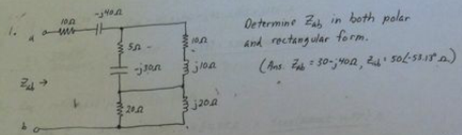 Determine Zab in both polar and rectangular form.