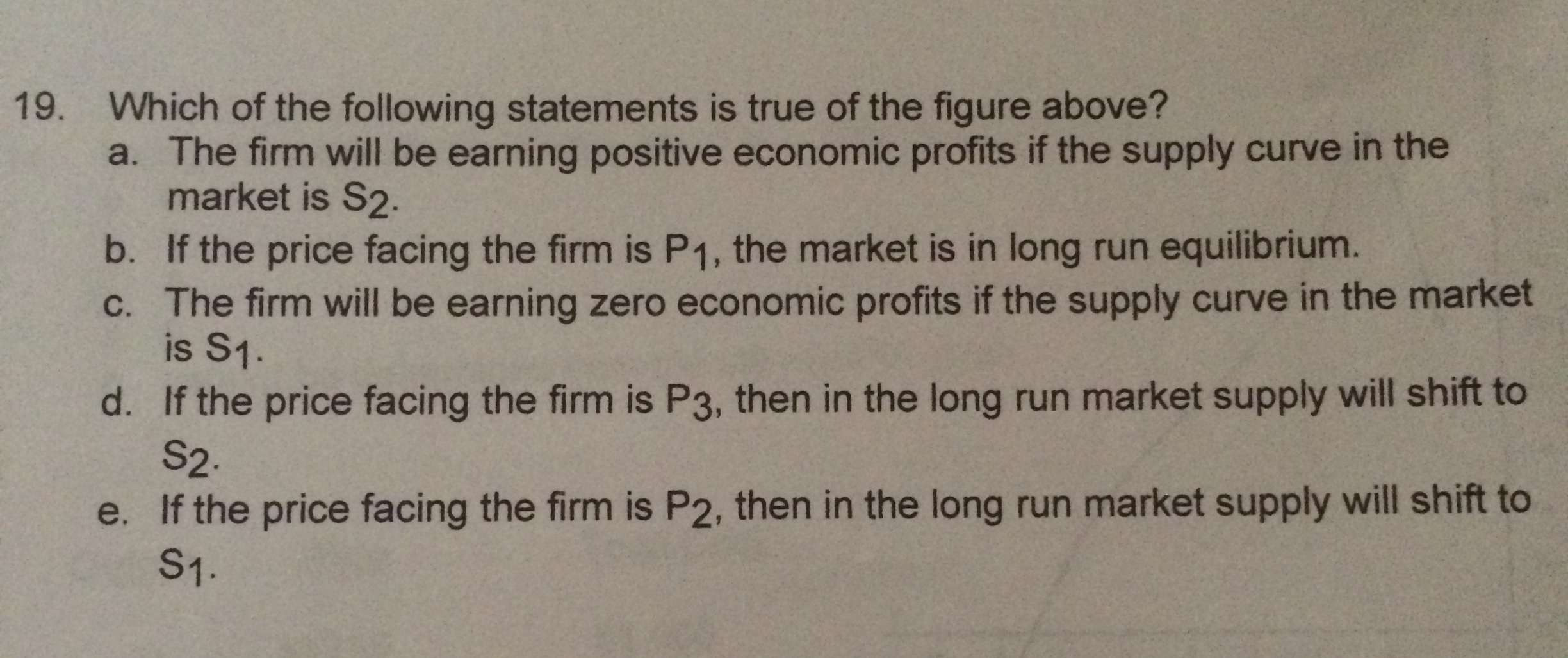 The following statements is true of the figure above a the firm will