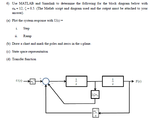 Use MATLAB and Simulink to determine the following