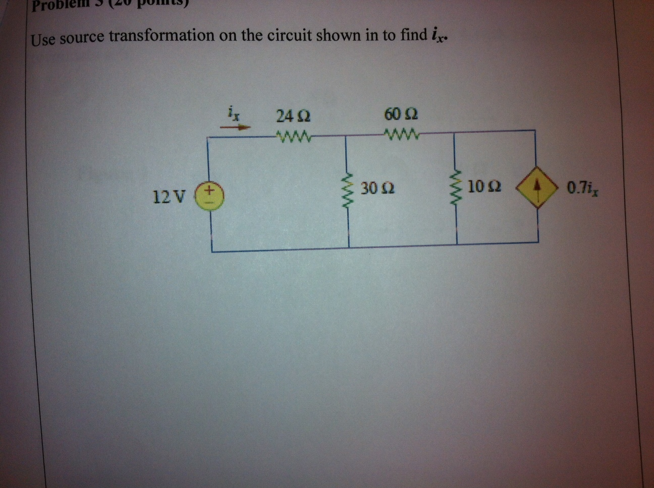 Use source transformation on the circuit shown in