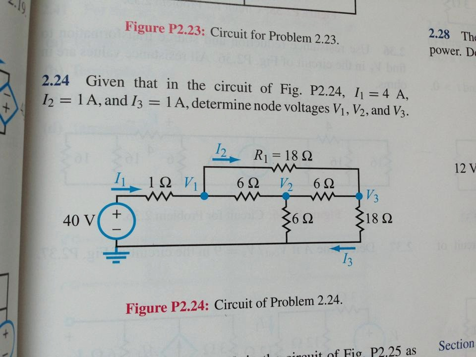 Given that in the circuit of Fig P2.24, I1=4 A, I2