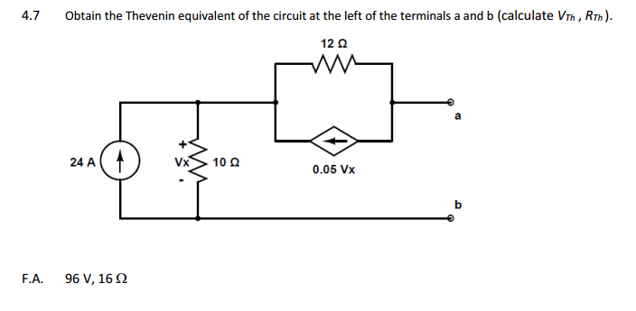 Obtain the Thevenin equivalent of the circuit at t