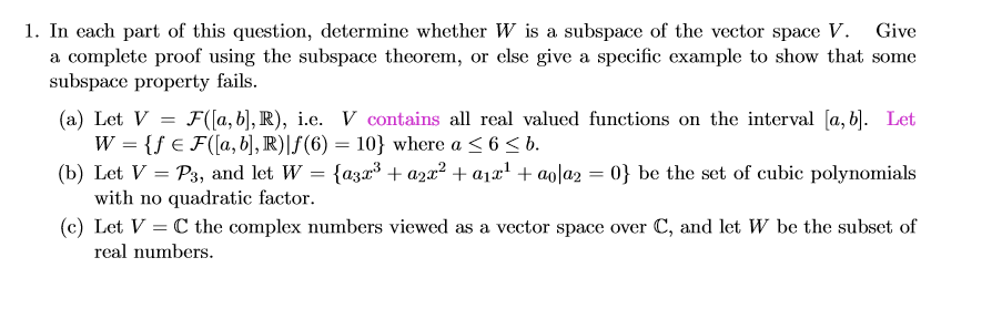 Vector Space Theorems