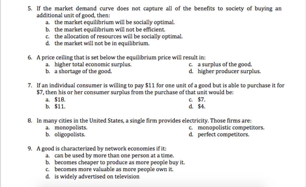 If The Market Demand Curve Does Not Capture All Of The Benefits To Society