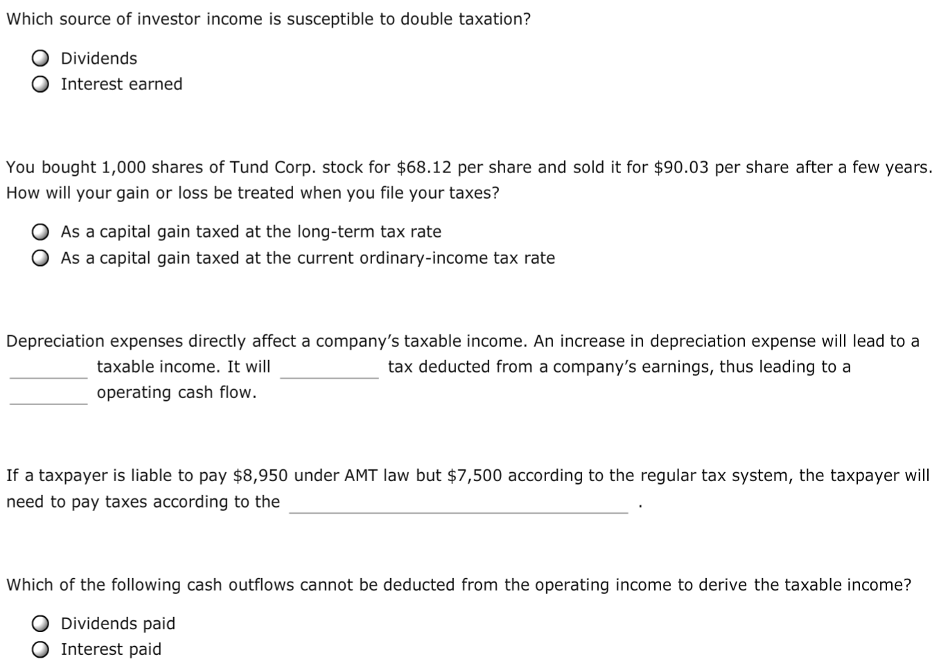Question: Which Source Of Investor Income Is Susceptible To