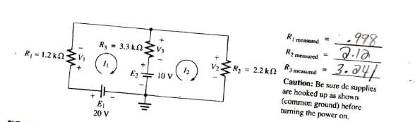 Using the circuit below find I1, I2, I3 using mesh