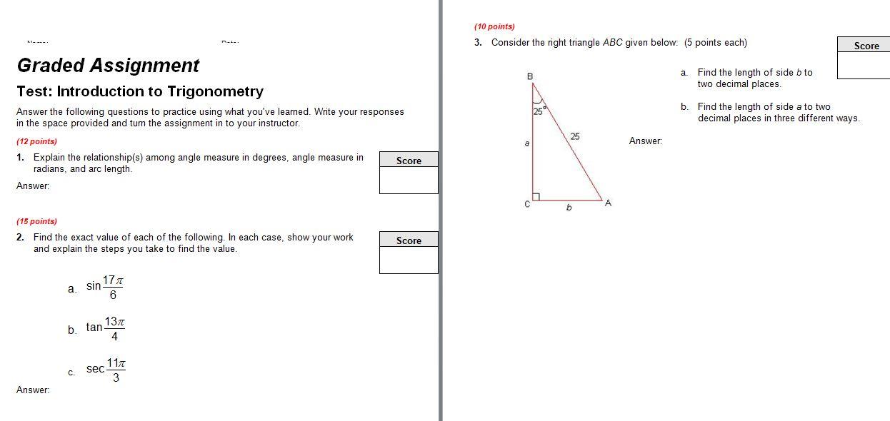 Test: Introduction To Trigonometry Answer The Foll... | Chegg.com
