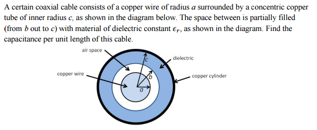 a certain coaxial cable consists of a copper wire chegg com question a certain coaxial cable consists of a copper wire