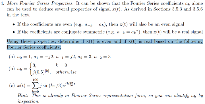 More Fourier Series Properties. It can be shown th