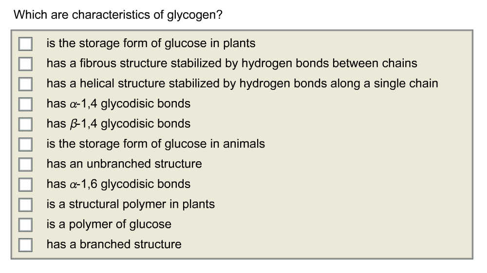 Which Are Characteristics Of Glycogen? Is The Stor... | Chegg.com