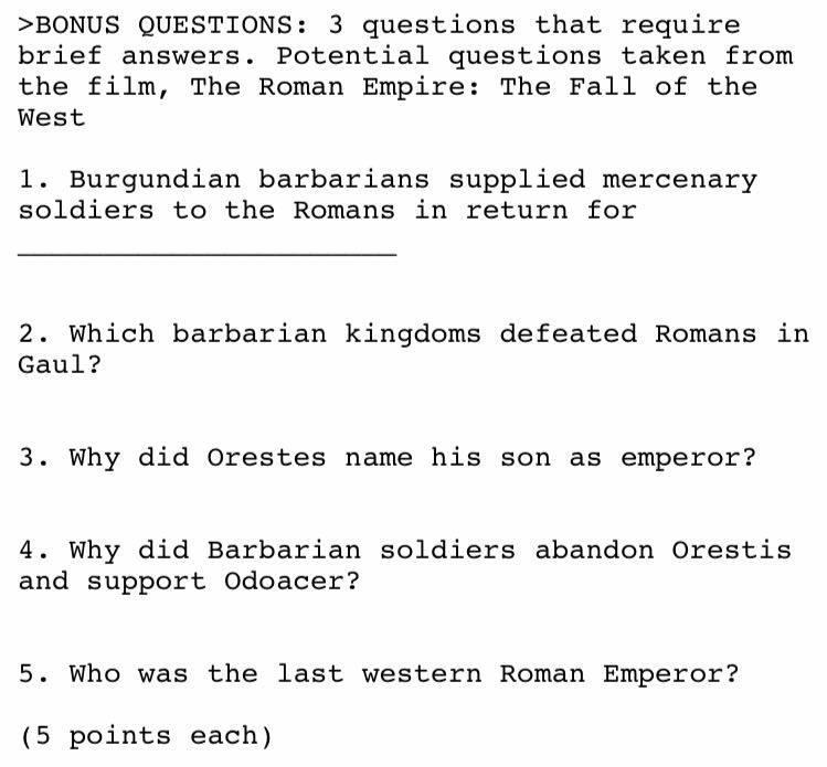 BONUS QUESTIONS: 3 Questions That Require Brief A... | Chegg.com