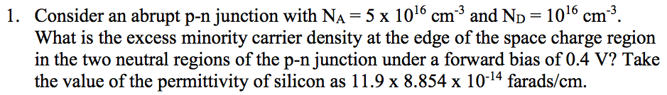 Consider an abrupt p-n junction with Na = 5 times