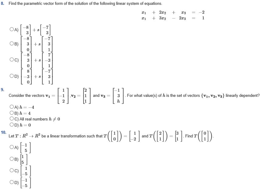 Find The Parametric Vector Form Of The Solution Of... | Chegg.com