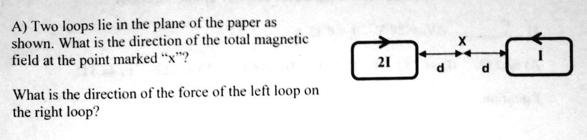Two loops lie in the plane of the paper as shown.