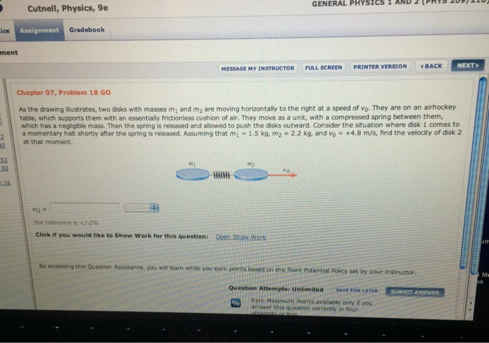 Cutnell physics homework solution