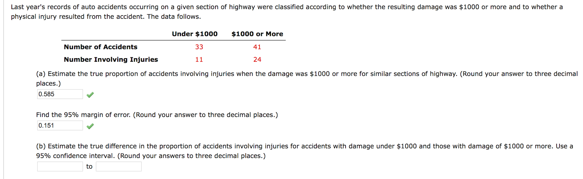 Solved: Last Year\'s Records Of Auto Accidents Occurring On ...