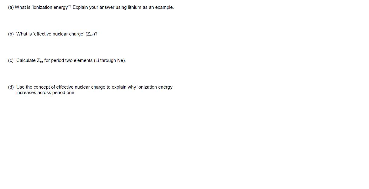 What is 'ionization energy'? Explain your answer u