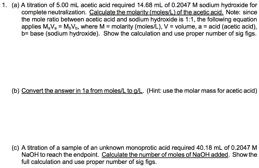 how to find molarity of unknown acid