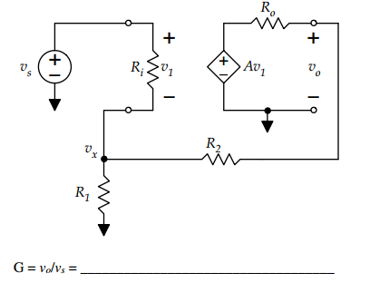 Calculate the gain, vo/vs, for the circuit shown b