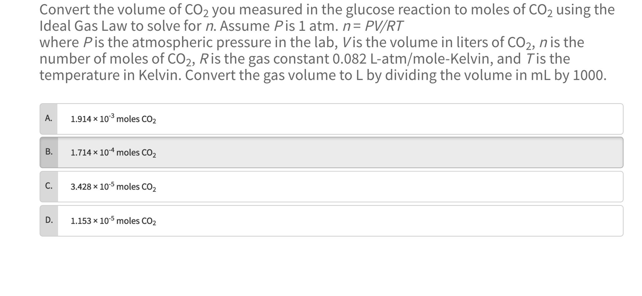 This Is Question 4: Convert The Volume Of Co_2 You Measured In The Glu