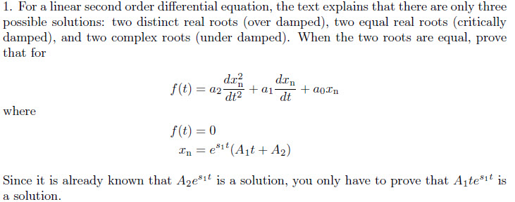 For a linear second order differential equation, t