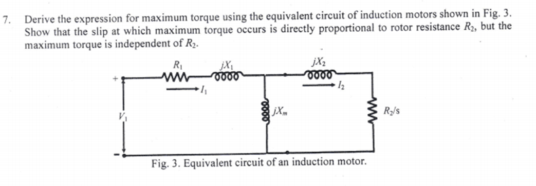 Derive the expression for maximum torque using the