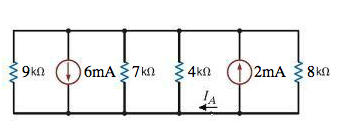 Find the current IA in the circuit in Fig. P2.42.