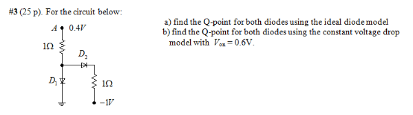 For the circuit below. find the Q-point for both