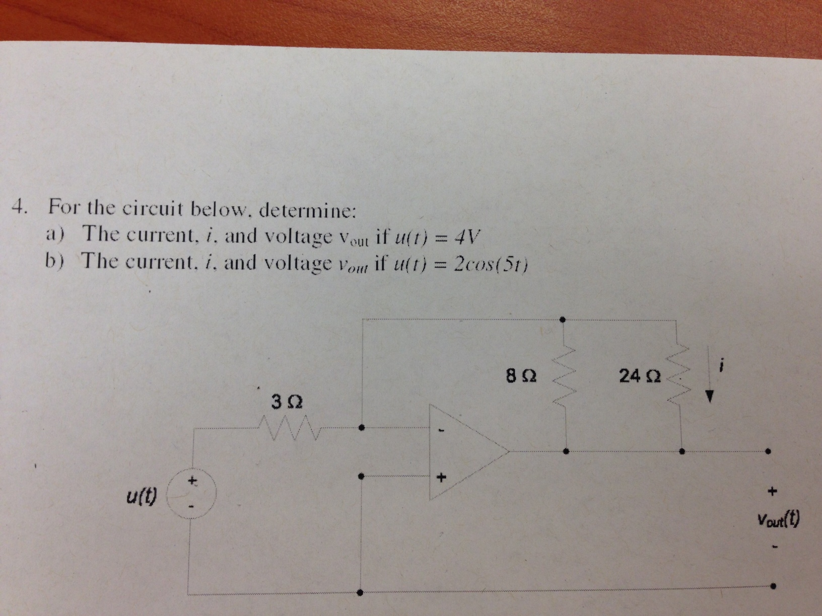 For the circuit below, determine: The current, i,