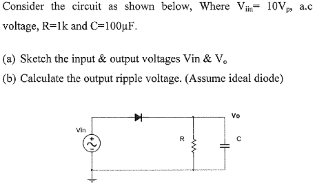 Consider the circuit as shown below, Where Viin= 1