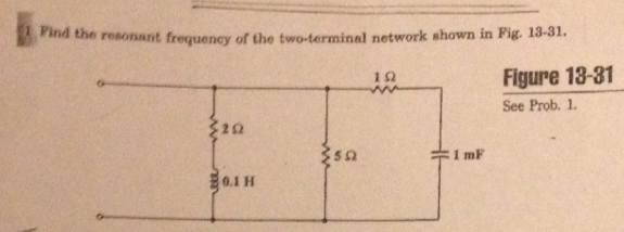 Find the resonant frequency of the two-terminal ne