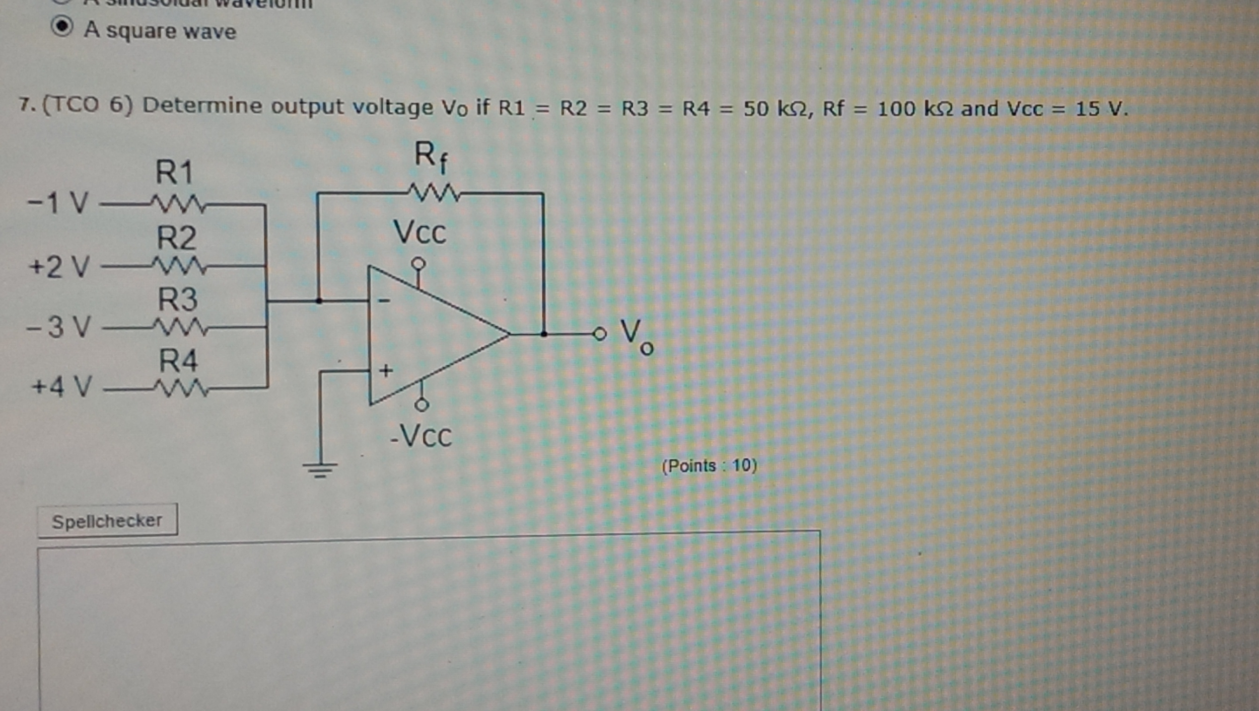 A square wave Determine output voltage Vo if R1