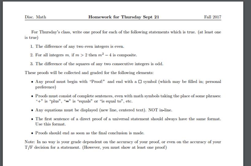 Solved Disc Math Homework For Thursday Sept 21 Fall 2017