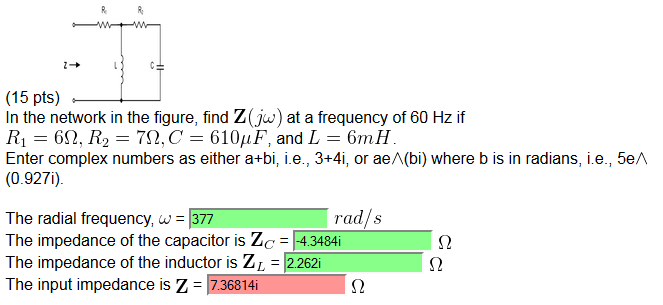 In the network in the figure, find Z(jw) at a freq