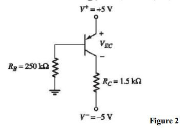 The transistor shown in Figure 2 has ? = 120. Dete