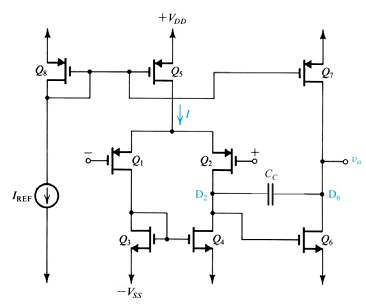 The following circuit is a two-stage op-amp, which