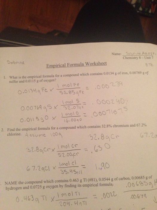 Question: What is the empirical formula for a compound which contains 0.0134 g of iron 0.00769 g of sulfur. & Solved: What Is The Empirical Formula For A Compound Which ...