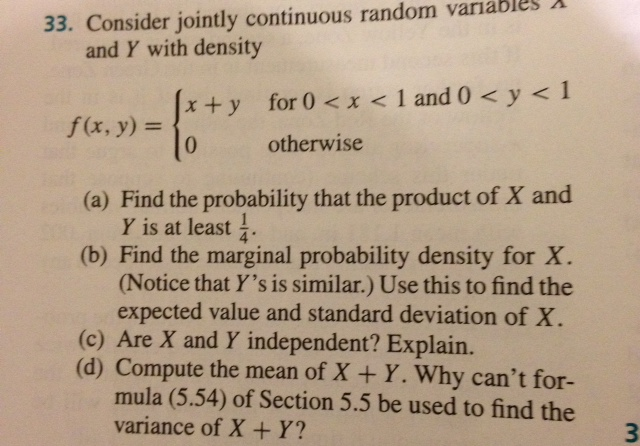 pdf of continuous random variable