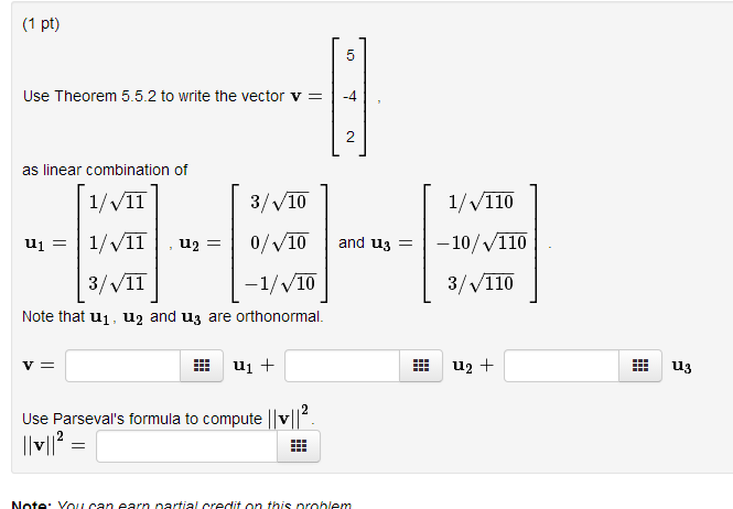 How to write linear combination vectors