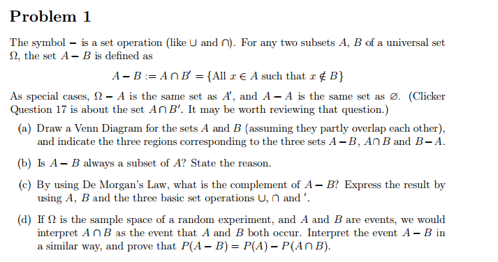 Solved The Symbol Is A Set Operation Like Union And In